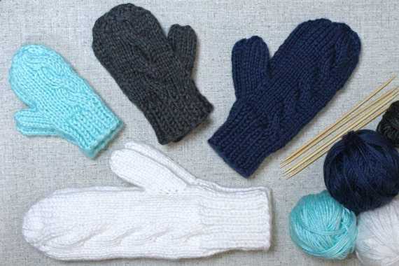 Knitting Pattern: Subtle Cable Knit Mittens in woman child