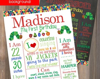 The Very Hungry Caterpillar Birthday Chalkboard Print - Bug Butterfly Colorful Rainbow First Birthday Party Sign Milestone  - JPEG File