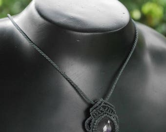 Handmade Amethyst Macrame Necklace / METAL FREE