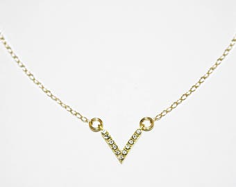 Gold Filled Crystal Chevron Choker - Gold Filled Necklace - Gold Choker - Gold Necklace - Chevron Choker - Crystal Choker - Gold Chain