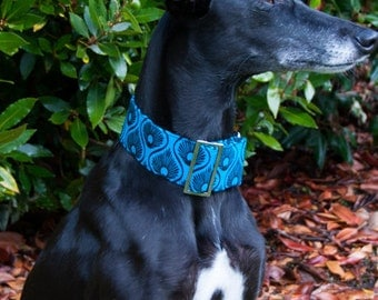Martingale Collar, Greyhound Collar, whippet Collar, Peacock Collar, Blue Dog Collar, Swarovski Crystals, Custom Made Collar, Dog Collar UK