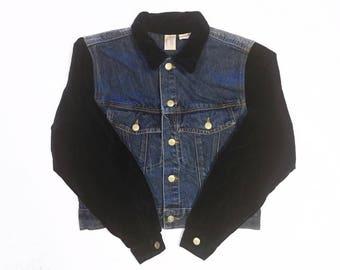 90s Vintage Velvet Sleeve Dark Blue Denim Jacket