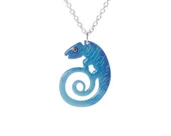 Animal pendant etsy blue chameleon pendant quirky pendant animal pendant reptile pendant animal jewelry mozeypictures Images