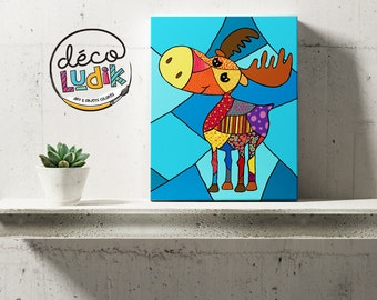 Moose canvas, print on canvas, wall art, canvas print, art print, home decor,nursery decor, kids room, decoration, canvas giclee