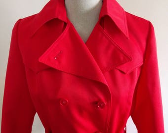 Vintage Red Double Breasted Weather Charmer Jacket.