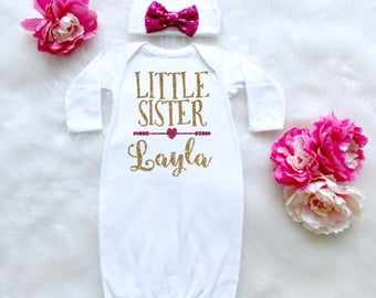 Little Sister Outfit. Newborn Baby Gown Little Sister. Little Sister Shirt. Little Sister Sleepgown.