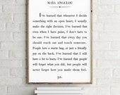 Maya Angelou Quote Print, Custom Text Print, Inspirational Motivational Print, Classic Book Page Print, I've learned that people Wall Art