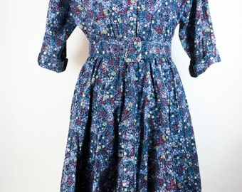Vintage Dress Blue Dress Button Down Dress Red White Blue Dress Blue Floral Dress House Dress Day Dress Rockabilly Swing Dress Full Skirt