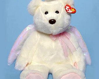 """New HALO The ANGEL BEAR, Ty Beanie Buddies, appr. 14"""",  Communion, Confirmation, 9337, Never Displayed"""