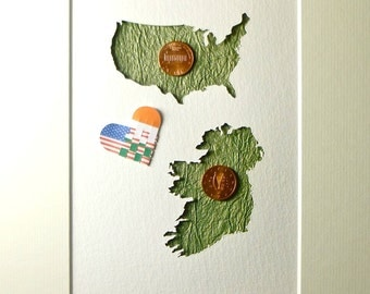 Irish Gift from Ireland, Love Distance Gift, Ireland and America Map, USA and Irish Flag, Miss Home Art, Mounted Map Art, Real Coins
