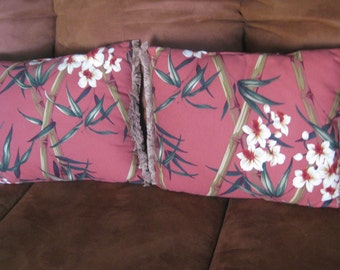 """Pair of Vintage 1940's LG  BARKCLOTH pillows lovely oriental graphics with original fringe edging excellent condition 18"""" x 15"""""""