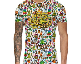 Christmas Pattern T-Shirt. Festive Spirit, Pattern, Christmasy, Men's Style, All over print, Santas, Sublimation, Single Sided, Xmas T-Shirt