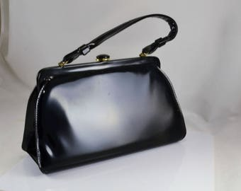 Black Patent Leather Purse - Pocketbook - Handbag - Vintage 1960s - Button Top Closure - Rockabilly