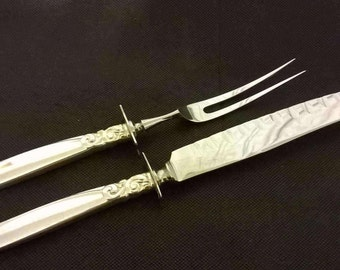 Oneida Community Plate SOUTH SEAS Meat Carving Knife & Fork with Silver Plated Handles