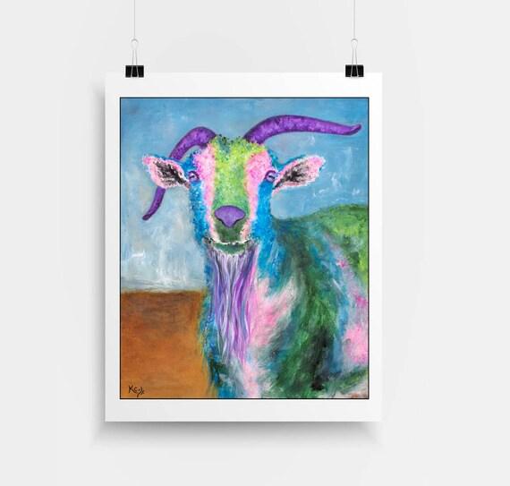 Goat Art Print. Goats. Billy Goat Artwork. Farm Animal Art. Pop Art Goat Portrait. Artwork with Goats. Colorful Goat Lover Gift Idea.