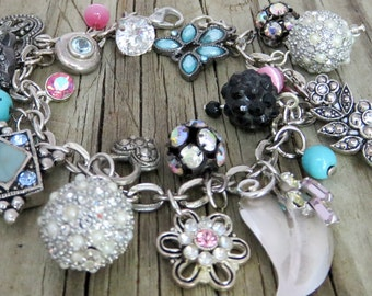 Recycled Jewelry - Chunky Charm Bracelet - Upcycled Bracelet - Rhinestone Jewelry Findings, Beads, Buttons - Upcycled Recycled Repurposed