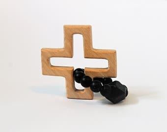 Wooden Cross Teether I Silicone Teether I Teething Toy I Baby Gift I Baby Shower Gift I Baby Baptism Gift