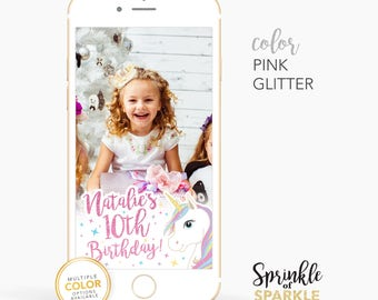 Glitter Girl 1st 2nd 3rd Unicorn Birthday Snapchat Geofilter Personalized Custom On-Demand Geo filter Gold  Rose Aqua Pink Sparkle Name 001