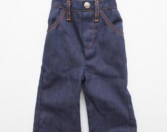 Baby Vintage 70s Healthtex Dark Indigo Denim Bellbottom Jeans w/ Selvage Line Size 12mo