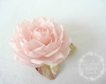 Blush Pink Pure Silk Rose Hair Clip Corsage