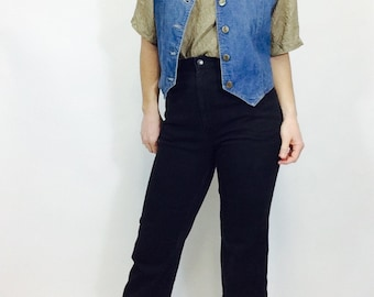 Vintage denim vest vintage jean vest Lee denim vest button up vest jean vest vintage vest size medium vest 70s vest medium denim vest Lee