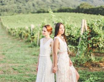 Flowy wedding dress, Wedding dress, Boho wedding dress, Bohemian wedding dress, Bridal dress, Ivory wedding dress, 0055 // 2016