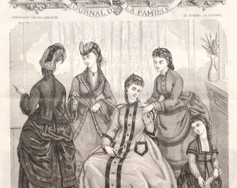 1872 victorian fashion print - Girls dresses, women, ladies gowns, wall decor - 145 yr old vintage French engraving illustration (C385)