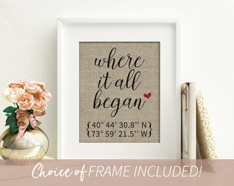 Where It All Began Engagement Gift | Anniversary Gifts for Boyfriend | Custom Coordinates | Coordinates Sign | Anniversary Gifts for Husband