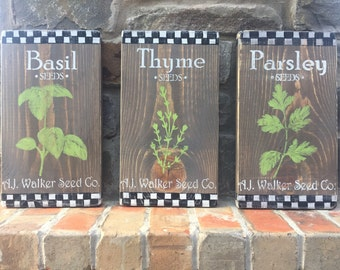 Farmhouse Kitchen Decor Rustic Herbs Thyme Basil Parsley Hand Painted Kitchen Decor