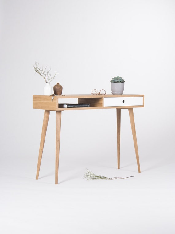 Modern Small Desk small console table entryway table with white drawer and