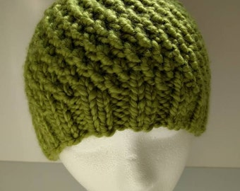 Cozy Hand-knitted Green Winter Hat