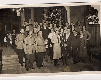 Orphanage Germany Christmas tree eve day santa Vintage Real Photo Postcard Photography, Paper Ephemera, Antique, RPPC