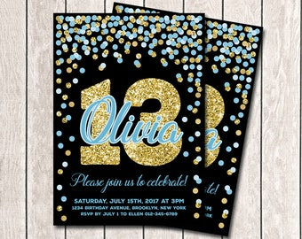 13th Birthday Invitation Any Age Girl Birthday Invites Printable Blue And Gold Confetti Birthday Invitations Baby Blue Gold And Black Party
