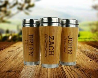 Groomsmen Gift - Personalized - Stainless Steel Bamboo Coffee Tumbler - Best Man, Groomsman, Father of the Bride, Father of the Groom