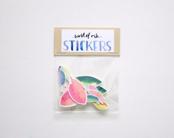 Colourful Planner Stickers, Watercolour Leaf Stickers, Botanical Sticker Pack, Hand Painted Stickers, Scrapbooking, Decorative Stickers