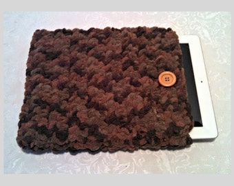 Chenille 10 Inch Tablet iPad Cover with Vintage Button, Hand Crocheted Tablet Sleeve, Brown, #WY-B16-2, Washable, Free Domestic Shipping