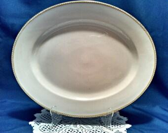 Antique Meat Platter by T&V Limoges, Tessemannes and Vogt, 15 Inch Limoges Porcelain Oval Serving Platter with Gold Trim, Crafted in 1907