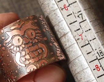 Jewelry Tutorial - DIY copper ring with owl pattern - PDF to make ring