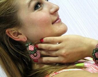 Soutache pink-green earrings, earrings with rhodochrosite, spring cuffs for girls