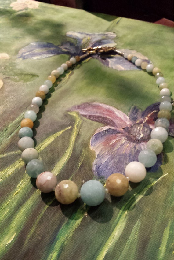 Aquamarine large faceted beaded necklace