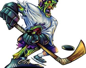 zombie hockey decal, full color zombie decal, hockey sticker, hockey laptop sticker, vinyl decal, vinyl sticker