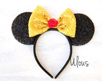 Belle Mickey Ears, Beauty and the Beast Mickey Ears, Rose Mickey Ears, Belle Minnie Ears, Princess Mickey Ears, Belle Ears, Belle, Ears