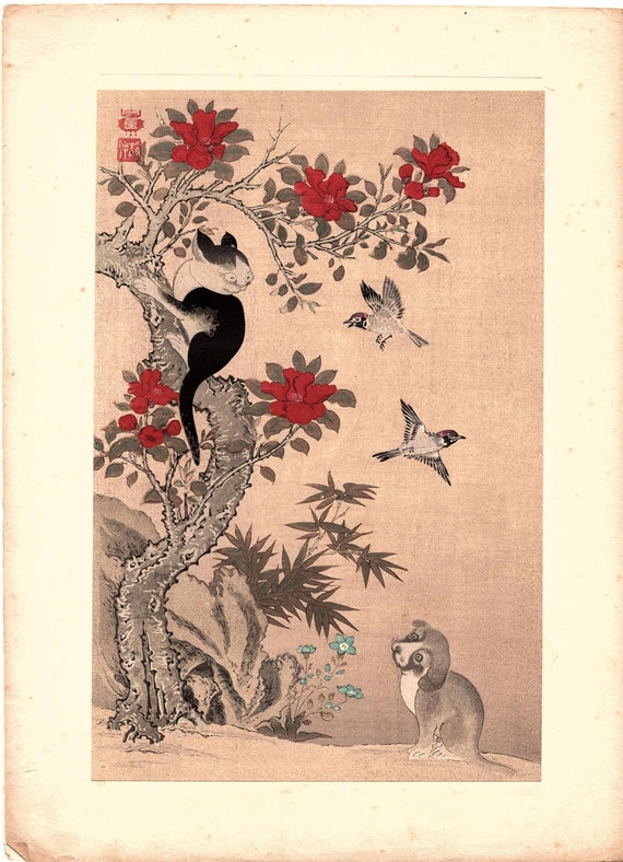 "1923, Japanese vintage Woodblock print, Wan Shan Chin Chung ""Red Flowers"""