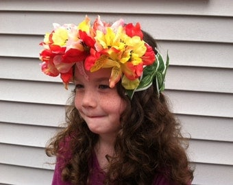 Tropical Flower Crown, Costume Accessory, Hawaiian costume, Girls flower crown, Floral crown, Hawaiian themed party, Luau party, Lilies