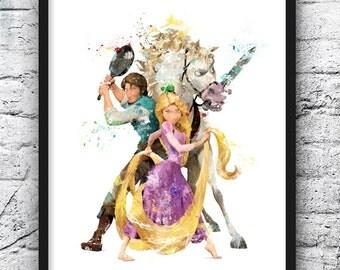 Rapunzel Watercolor Print, Disney Art, Tangled, Flynn Rider, Horse, Movie Poster, Wall Art, Home Decor, Kids Room Decor, Nursery Art  - 674