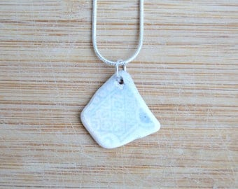 Sea China Necklace, Upcycled Pottery Pendant, Seaside Jewellery, 9th Anniversary Gift for Her, Unique Gift, Sea Pottery, Beach Pottery