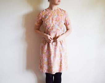 Vintage 60s Dress, Pastel Pink Floral Dress, Peach Midi Dress Medium