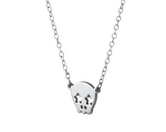 Skull Necklace / Skull with Heart and Star Eyes / Sterling Silver / 14k Gold over Silver / Dainty & Delicate Necklace