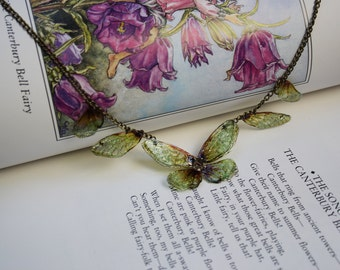 Delicate Amber Gossamer Fairy Wing/Butterfly Necklace
