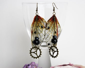 Gothic Steampunk Amber and Black Fairy Wing/Butterfly/Cog Earrings